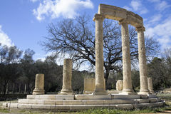 Classical ionian temple at Olympia. (Greece Stock Image