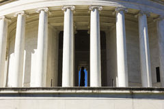Classical Ionic fluted columns of the Thomas Jefferson Memorial, West Potomac Park, Washington DC Stock Image
