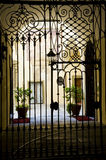 Classical Iron gate. A detail photo of a classical European iron gate royalty free stock photo