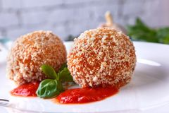 Classical Italian arancini. Traditional Italian dish from Sicilian Stock Photo