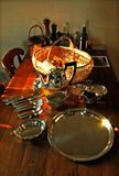 Classical Kitchen Table. Silverware and antique wood in a classical vintage kitchen in a famous  country house, South Africa Royalty Free Stock Photos