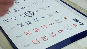 Date on the calendar stock video footage