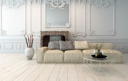 Classical light colored living room interior Royalty Free Stock Photo