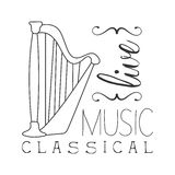 Classical Live Music Concert Black And White Poster With Calligraphic Text And Harp Instrument Stock Photography