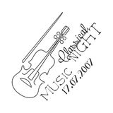 Classical Live Music Concert Black And White Poster With Calligraphic Text And Violin Stock Photo