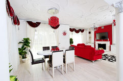 Classical living room interior in white and red Stock Photo
