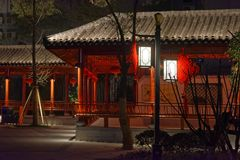 Classical long corridor-Ruzi Pavilion Park night. Kiosks in the city of Nanchang province Xihu District in Jiangxi, West Lake, named for the memorial of the Stock Photography