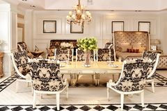 Furniture in luxury dining room stock image