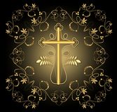 Classical luxury funereal decoration with golden crucifix with golden floral decoration and swirly elements on black background Royalty Free Stock Photo