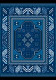 Vintage carpet with ethnic ornament in blue and bluish shades Stock Image