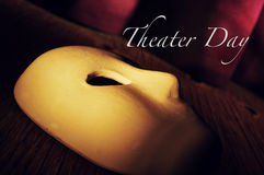 Classical mask on a stage and text theater day Stock Image
