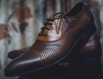 Classical men`s brown shoes. Fashion classical men`s brown shoes stock images