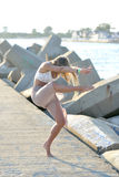 Classical or modern dance on the beach Royalty Free Stock Photo