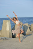 Classical or modern dance on the beach Royalty Free Stock Images