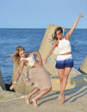 Classical or modern dance on the beach Stock Image