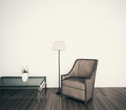 Classical modern interior armchair face blank wall. Minimal modern comfortable interior, 3d image Royalty Free Stock Images