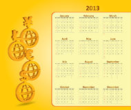 Classical monthly calendar for 2013. With currency signs Royalty Free Stock Photo