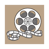 Classical motion picture, cinema film reel, sketch style vector illustration Royalty Free Stock Images