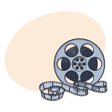 Classical motion picture, cinema film reel, sketch style vector illustration Royalty Free Stock Photo