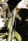 Classical motorcycle. Classical American motorcycle, closeup photo Stock Photo