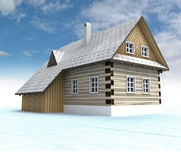 Classical mountain cabin with blue sky Royalty Free Stock Photography