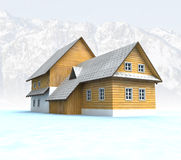 Classical mountain cottage with blue sky and mountains Stock Photo