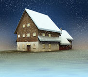 Classical mountain cottage and window lighting at night snowfall Stock Photography