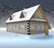 Classical mountain hut at night snowfall Royalty Free Stock Images
