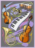 Classical music. A digital illustration depicting classical music, violin, bass, kettle drums, French horn flugelhorn, piano keyboard stock illustration