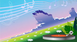 Classical music. Player Turntables performs classical music. Vector illustration Royalty Free Stock Photo
