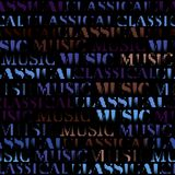 Classical music backhround. Classical music lettering on black. Seamless background. Vector image royalty free illustration