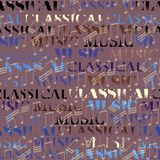 Classical music backhround. Classical music lettering on brown. Seamless background. Vector image vector illustration