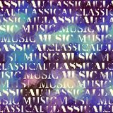 Classical music backhround. Classical music lettering on low poly pattern. Seamless background. Vector image stock illustration