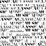 Classical music backhround. Classical music lettering and notes on white. Seamless background. Vector image royalty free illustration