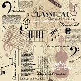 Classical music backhround. Classical music lpattern with ettering and notes in retro scrapbook style. Seamless background. Vector image royalty free illustration