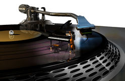 Classical music. Close view to a turntable, with a piano, a cello and a violin on the vinyl disc Royalty Free Stock Photo