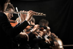 Classical music concert: flutist close-up Royalty Free Stock Image