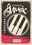 Classical music concert for piano and orchestra retro poster design. Layout. Vintage flyer advertise for music event Royalty Free Stock Photography