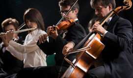Classical music concert: symphony orchestra on stage Stock Image
