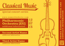 Classical music concert violin horizontal music flyer template Stock Photos