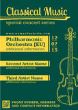 Classical music concert violin vertical music flyer template Royalty Free Stock Image