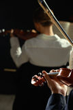 Classical music: concert. Violinists playing at the concert, rear view Stock Photo