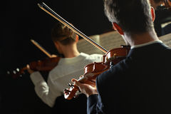 Classical music: concert. Violinists playing at the concert, rear view Stock Images