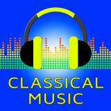 Classical Music Shows Symphonic Soundtracks 3d Illustration. Classical Music Earphones Shows Symphonic Soundtracks 3d Illustration Stock Photos