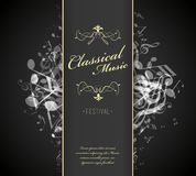 Classical music festival advertising poster template with tunes. Vector art Royalty Free Stock Image