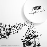 Classical music festival advertising poster template with tunes. Vector art Royalty Free Stock Photos