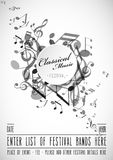 Classical music festival advertising poster template with tunes. Vector art Royalty Free Stock Images