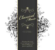 Classical music festival advertising poster template with tunes. Vector art Royalty Free Stock Photography
