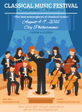 Classical Music Festival Flat Poster Royalty Free Stock Photo