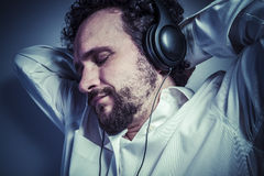 Classical music, man with intense expression, white shirt Stock Photography